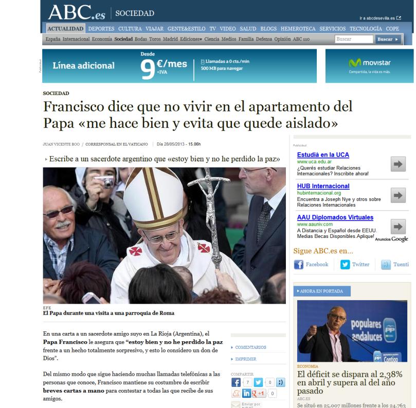 Francisco dice que no vivir en el apartamento del Papa «me hace bien y evita que quede aislado» - ABC.es