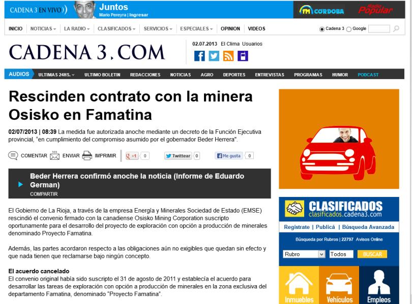 Rescinden contrato con la minera Osisko en Famatina