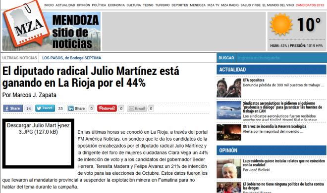 El diputado radical Julio Martínez está ganando en La Rioja por el 44%