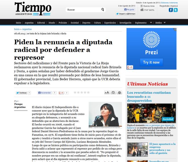Piden la renuncia a diputada radical por defender a represor