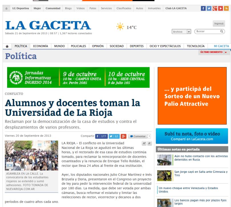 Alumnos y docentes toman la Universidad de La Rioja - La Gaceta