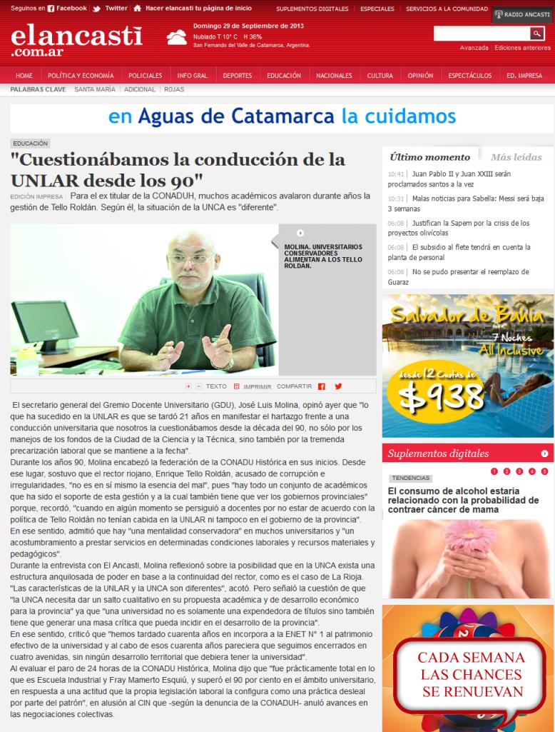 -Cuestionábamos la conducción de la UNLAR desde los 90- - Educación - El Ancasti de Catamarca