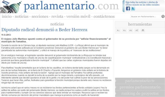 Diputado radical denunció a Beder Herrera