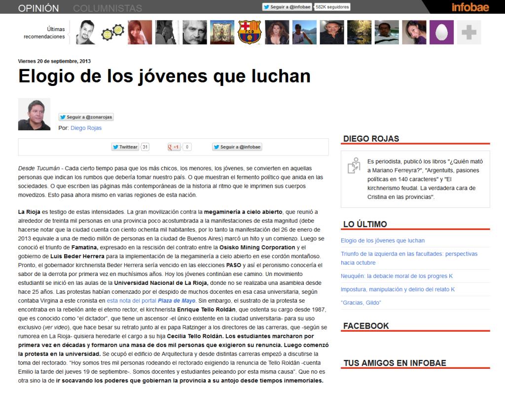 Elogio de los jóvenes que luchan ~ Diego Rojas ~ Infobae.com