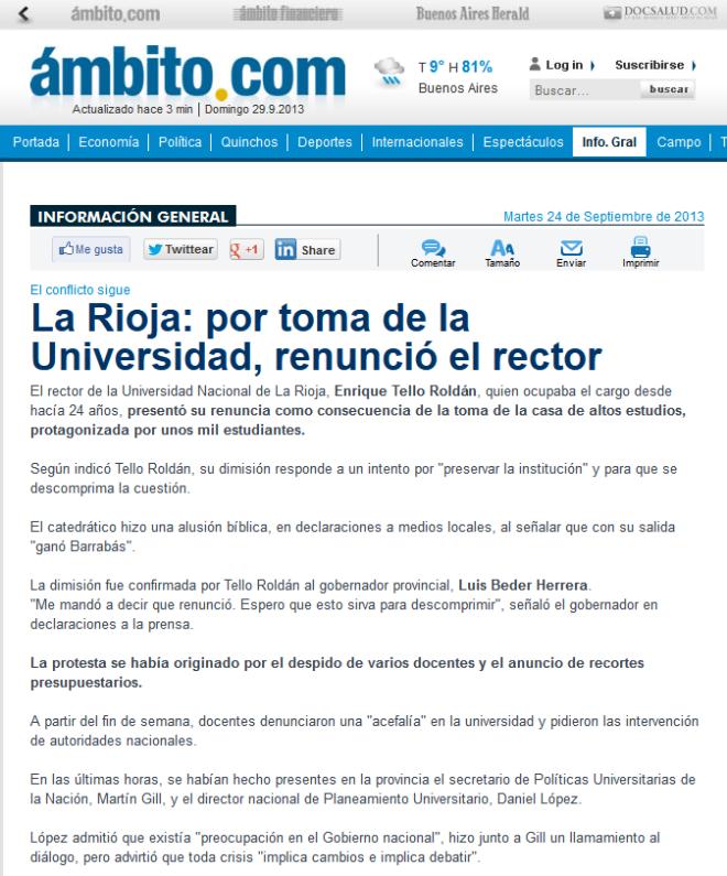 La Rioja- por toma de la Universidad, renunció el rector - Ambito.com
