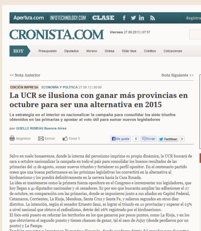 La UCR se ilusiona con ganar más provincias en octubre para ser una alternativa en 2015 - Cronista Comercial