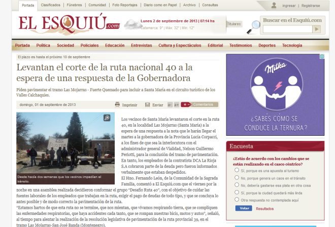 Levantan el corte de la ruta nacional 40 a la espera de una respuesta de la Gobernadora - Diario El Esquiu