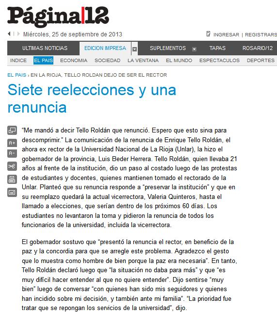 Página-12 -- El país -- Siete reelecciones y una renuncia