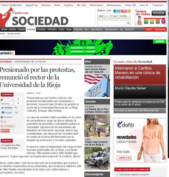 Presionado por las protestas, renunció el rector de la Universidad de la Rioja