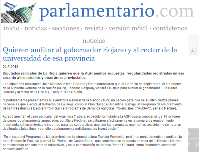 Quieren auditar al gobernador riojano y al rector de la universidad de esa provincia