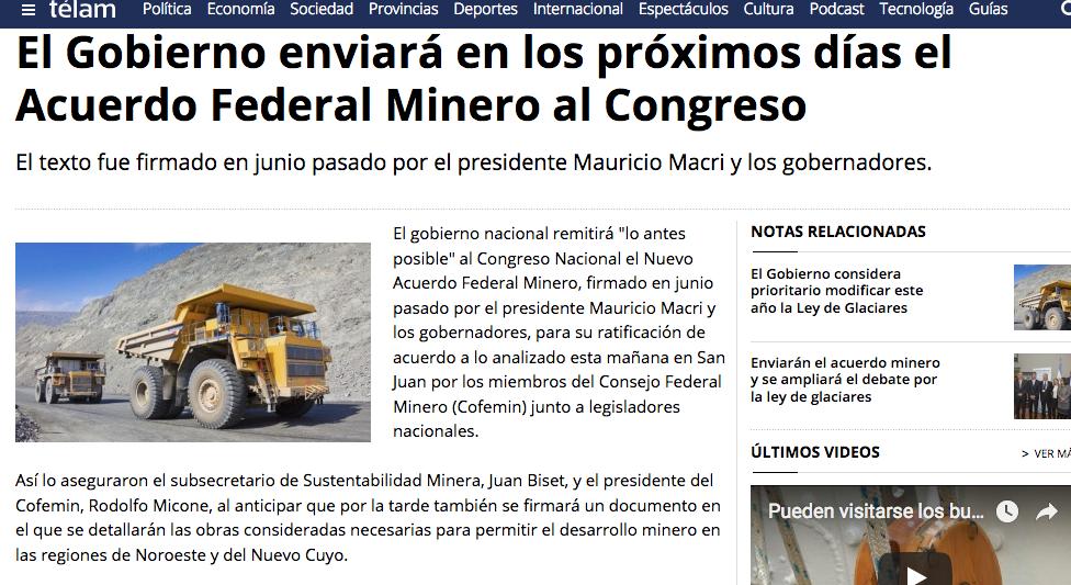 El Gobierno enviará en los próximos días el Acuerdo Federal Minero al Congreso Télam Agencia Nacional de Noticias