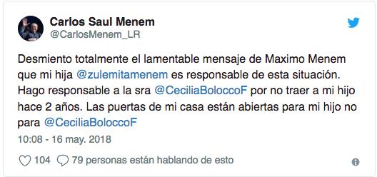 Carlos Menem defendió a Zulemita y desmintió al hijo que tuvo con Cecilia Bolocco